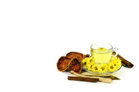 rooibos: Chrysanthemum Tea with Chinese Herbal Medicine on White Background.