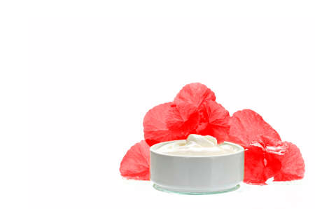 longevity: Centella asiatica leaves and skincare product in red and white tone. Indian pennywort (Centella asiatica (L.) Urban.) anti-aging skin care product. Stock Photo