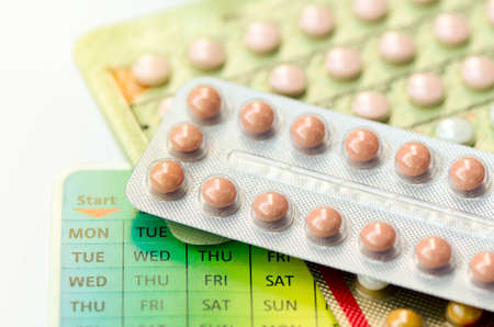 Contraception Education Concept with Oral contraceptive.