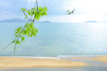 picknick: Vacation background at the seaside. Summer background with sea view. Stock Photo