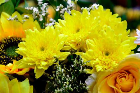 Floral bouquet. Floral arrangemant in yellow tone.