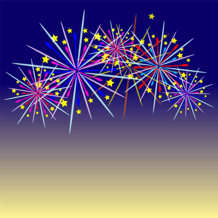 newyear: Colorful fireworks celebration and the twilight sky background. Illustration