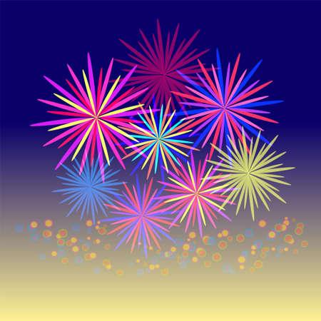 Colorful fireworks celebration and the twilight sky background. Illustration