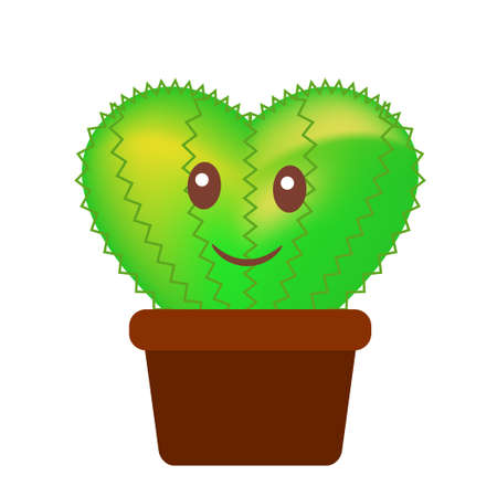 Cactus Family Cartoon Vector.