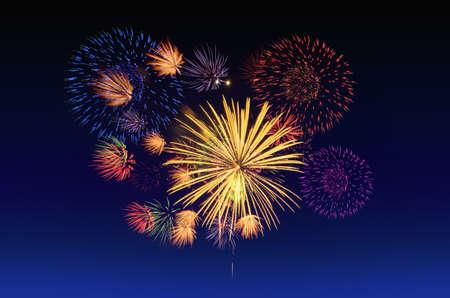 Colorful fireworks celebration and the twilight sky background. Stock Photo