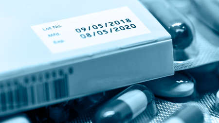 Manufacturing date and expiry date on some pharmaceutical packaging.