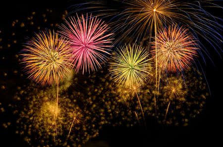 Colorful fireworks celebration and the night sky background. Stock fotó