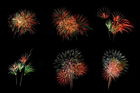 Set of colorful fireworks for decoration isolated on black background.