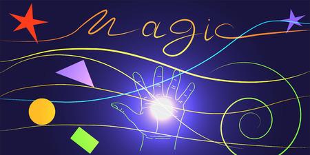 예측: 에너지 마법. 손에 마법의 밝은 빛, 세계의 미래의 예측.