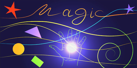 astral: energy magic. Magic bright light on the hand, the prediction of the future of the World.