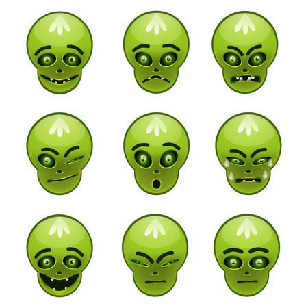 happy sad: Smiley mostro verde tutto sul suo volto cambiato per abbinare il vostro umore - felice, triste, arrabbiato.
