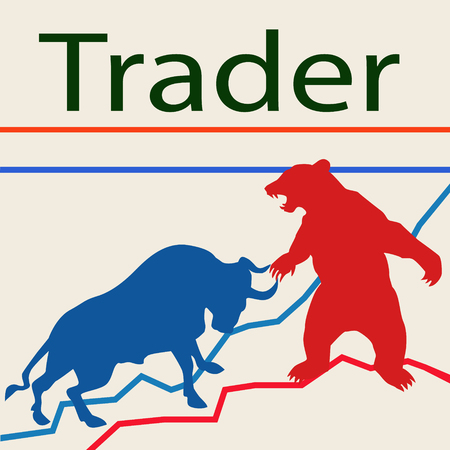constant: Trader bulls and bears. Bulls and bears - a constant struggle for traders the prices up and down.