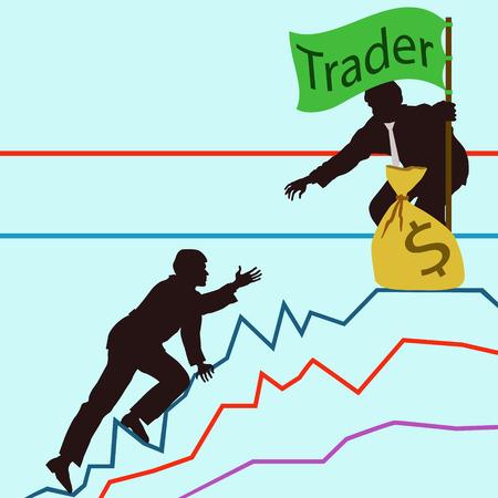 stock trader: El objetivo de un comerciante para calcular y hacer el paso correcto hacia su objetivo. Ganar mucho dinero y aumentar tus ingresos! Vectores