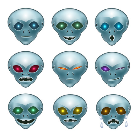 hatred: Grey aliens their desires and emotions faces show what they want: smile, laughter, anger, crying, suspicion, hatred, doubt.