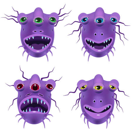attentive: Smile purple alien from another planet, shows his mood: cheerful, joyful, angry, indifferent.