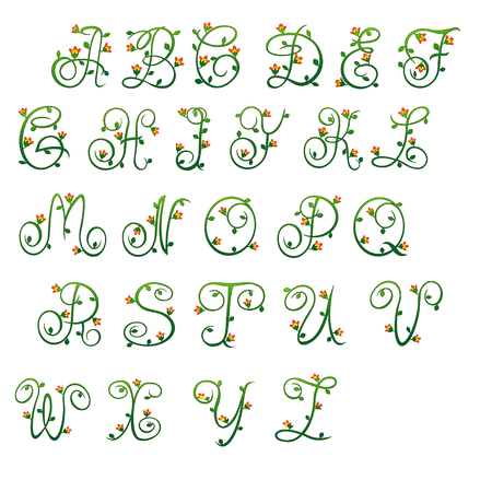 meandering: English uppercase letters, like plant ornament green plant branches woven like a meandering stems and flower buds. For websites and advertisements, for books, they will beautify and attract your visitors. Illustration