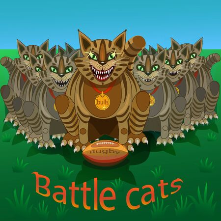 agile: The sport of Rugby - the name battle cats team logo. The cat it is small but efficient, always give change, agile, shifty, quick, and good team name.