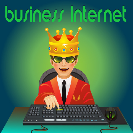 king master: A young guy on his head a Golden crown, sitting on the keyboard in the Internet, head over to the laurels of the victory which he achieved!