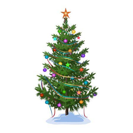 Árbol de Navidad decorado con coloridas bolas, estrellas y guirnaldas, y conduce a una delicia vacaciones