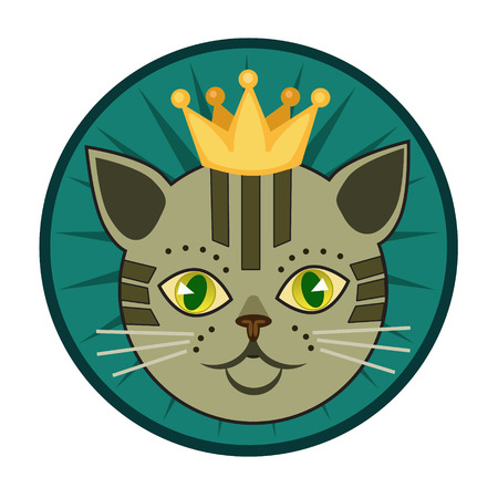 purring: Cat with crown for badges, emblems