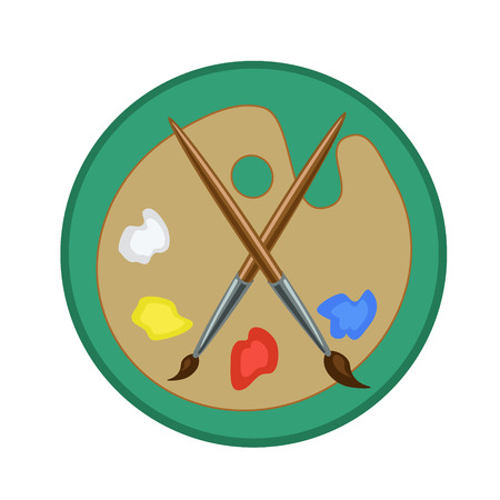 artist palette: Two brushes, artist palette and mix paints icon