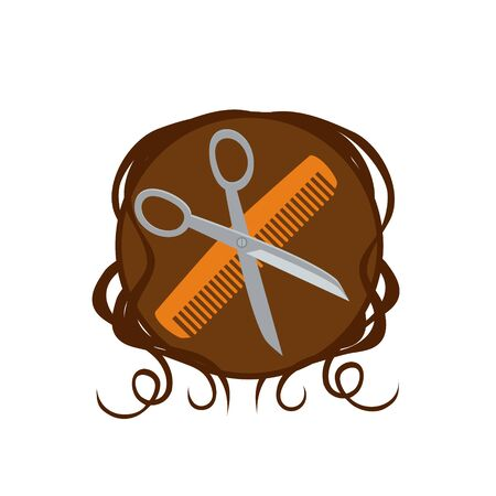 comb: Barber scissors and comb  Illustration