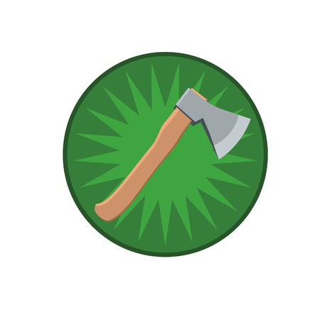 chops: An axe with a wooden handle  Illustration