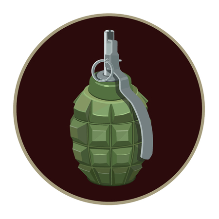 splinters: Round explosive fragmentation grenade with a ring ready to throw and blast to play, icon, icons, web site Illustration