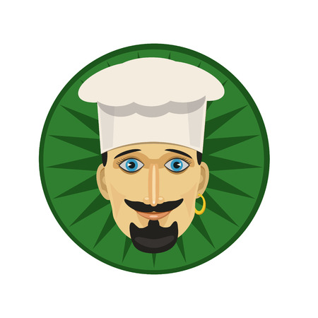 ear ring: Cook a man in a white cap with a mustache and a beard in the ear ring earring, funny smiling icons for, icon, and website.