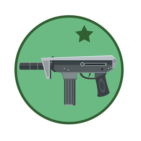 Machine gun weapon to protect people from bandits and hooligans, to icons, the icon of the site