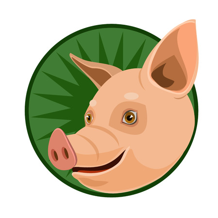swines: icon pet pig nose plug, fat gives the meat, fat, skin, and an icon for the site Illustration