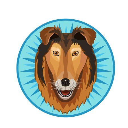 Icon collie dog, kind, faithful, shaggy with a long nose and an icon for the site Illusztráció