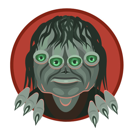 visitor: Icon alien monster is looking at you, green eyes, icon and website