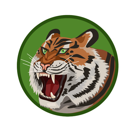 defend: Icon angry aggressive tiger with an open mouth with white teeth and fangs for the icon and the website