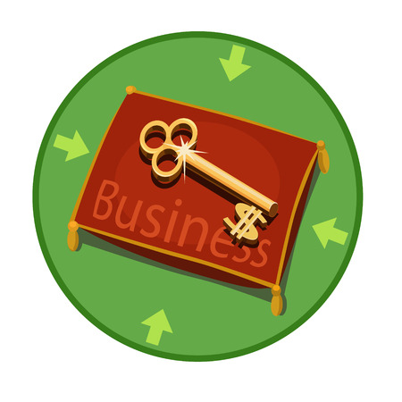 earn money: Icon keys for business, Golden key lying on a red pillows, it open access to the business, how to earn money for the badge and website
