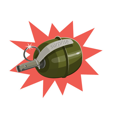 Explosive round with the grenade ring for gift a surprise, ready to throw and Bang, game, icon, icons, website