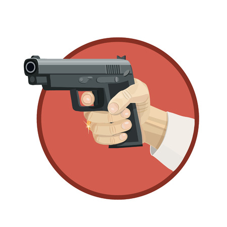 Icon pistol aimed at criminals, to protect you from criminals who want to attack you