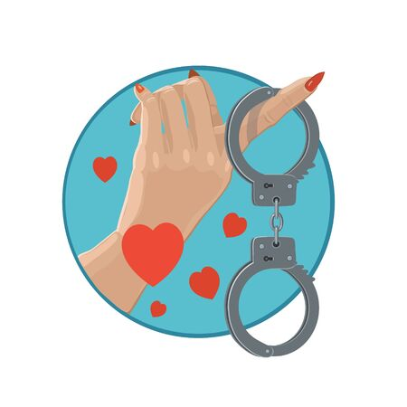 handcuffs woman: Icon love in handcuffs, with many meaningful, attractive girls who are looking for the body passion