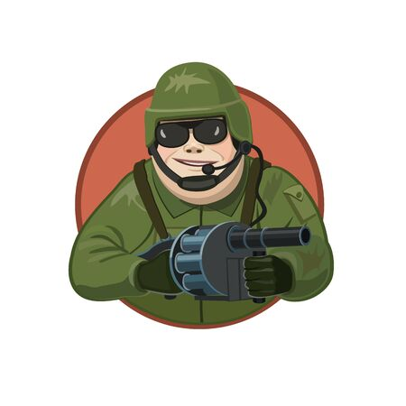 launcher: Icon soldier with a grenade launcher, making a person smile, because he has a gun, which has a great destruction - the invincibility of his spirit! Illustration