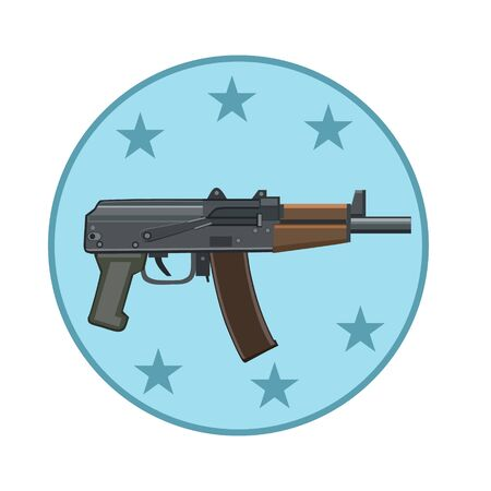 computer attack: Icon automatic weapons to protect and attack with stars of individual weapons to his forces shooting to the computer and the website