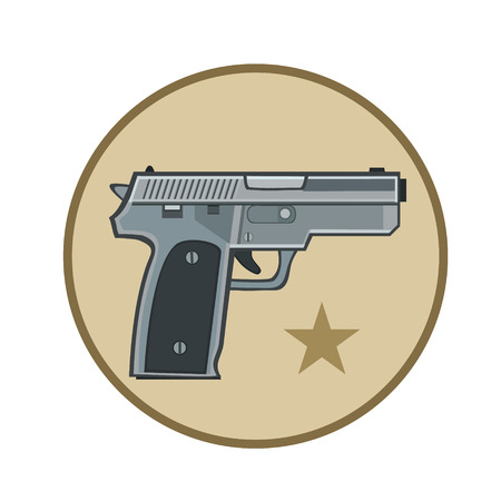 advanced technology: Icon weapon the gun with the star advanced technology, to protect from bandits and bad people Illustration