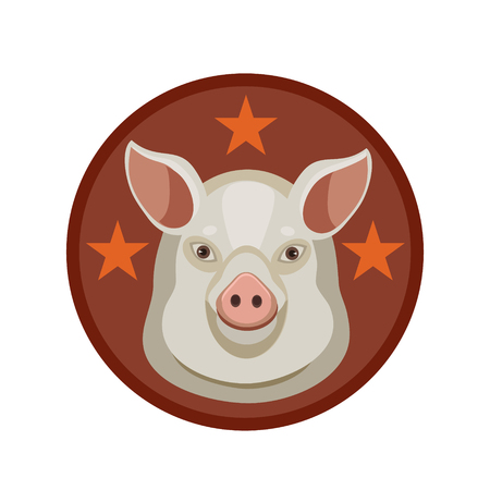 cleanliness: The emblem or icon of pig meat shows the quality of his stars for cleanliness and the quality of the product Illustration