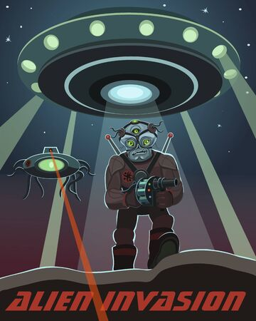 an invasion: Invasion of alien creatures accompanied by a mechanical robot scout to restore purpose
