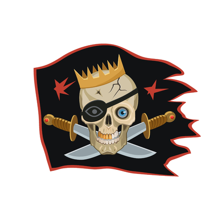 blindfold: The king of the pirates black flag, seeing the eyes on the skull, with a black blindfold and a Golden crown, knives place of bones