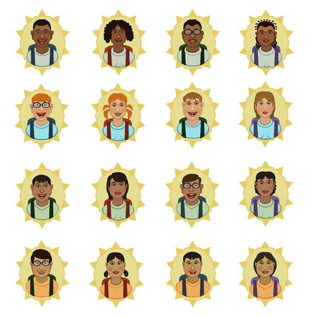 nationalities: People of different race types, to European and Asian nationalities, pupils, students of colleges, suitable for avatars, icons and so on