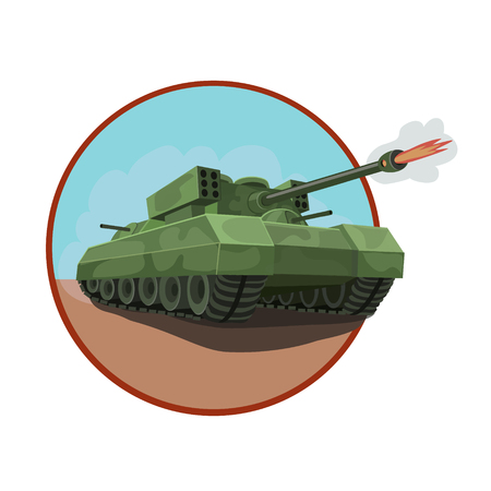 launcher: New armored tank with a rocket launcher, equipped with machine guns around the tank and disguised as combat maneuvers, icons and so on