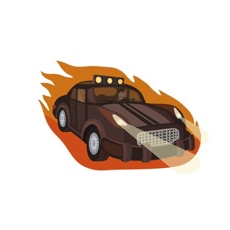 car speed: Car races, racing at high speed towards its target, leaving a flame of fire, and lights the road lights