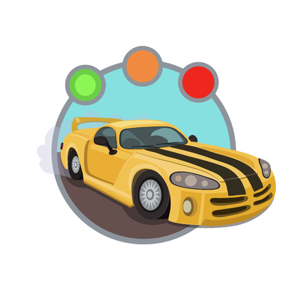 intentions: Yellow racing car with two black lines, ready for the competition, the traffic light gives you right to travel!