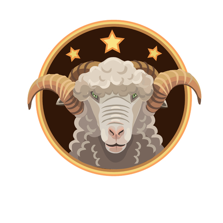mutton: Aries three stars, gives a lot of beautiful white wool, and also for horoscope of the constellation Aries emblem Illustration