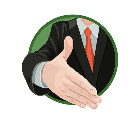 Handshake agreement between two parties enters into a contract in business, or greeting, introduction, cover page and business email correspondence, icons and so on